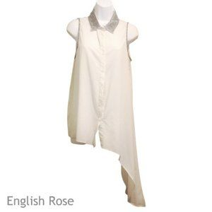 English Rose Sheer Beaded Lop Side Blouse